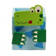 Színes, fa ceruzatartó-krokodil