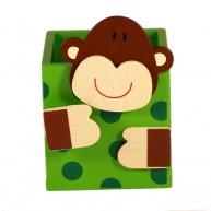 Színes fa ceruzatartó-majom