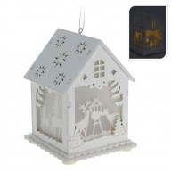 Fehér, világító fa házikó-szarvas 4052-C