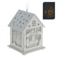 IMP-EX  Fehér, világító fa házikó-templom 4052-D