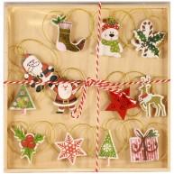 IMP-EX Felakasztható karácsonyfa dísz, 12 darab-Mikulással   252016-1