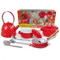 Játék edénykészelet teáskannával és tálalóeszközökkel piros-pöttyös 4319