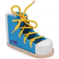SMALL FOOT cipő fűzését segítő készségfejlesztő fajáték - kék 6475A