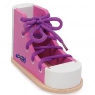 SMALL FOOT cipő befűzését segítő készségfejlesztő fajáték - rózsaszín  6475B