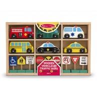Melissa & Doug fa autó készlet közlekedési táblákkal 3177