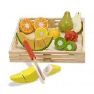 Melissa & Doug fa szeletelhető játék gyümölcskosár tépőzáras rögzítéssel 4021