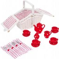 Legler piros porcelán teáskészlet fehér fonott kosárban 5315