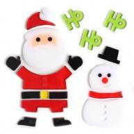 Karácsonyi ablakzselé dísz mikulás hóemberrel