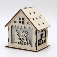 IMP-EX LED karácsonyi dekoráció házikó hóember és szarvas motívummal 10*7cm