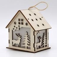 LED karácsonyi dekoráció házikó szarvas és fenyő motívummal 10*7cm