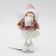 Karácsonyi dekoráció álló angyalka mályva ruhában