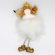 Karácsonyi dekoráció lógó lábú angyalka arany cipőben