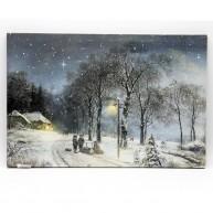 LED vászonkép havas tájjal 60 x 40 cm