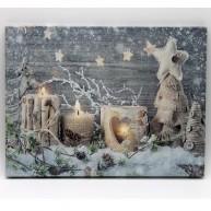 LED karácsonyi dekoratív vászonkép elfújható gyertyákkal 40 x 30 cm