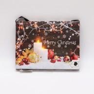 LED karácsonyi vászonkép dekoráció 2 elfújható gyertyával 22 x 17 cm