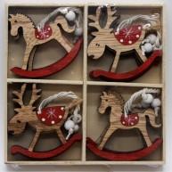 Karácsonyfa dísz hintaló + rénszarvas natúr 12db-os 408392