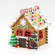 Karácsonyi dekoráció agyag (polirezin) mézeskalács házikó LED-es világítással nagy