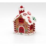 Karácsonyi dekoráció agyag mézeskalács házikó LED-es világítással kicsi