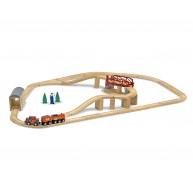 Melissa & Doug fa vonat készlet sínekkel, vonattal és forgatható híddal 47db-os