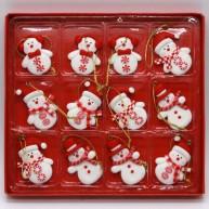IMP-EX karácsonyfa dísz agyag (polirezin) hóemberek 12db-os szett