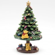 Karácsonyi dekoráció polirezin karácsonyfa feldíszítve - zenélő és világító, felhúzhatós 466136