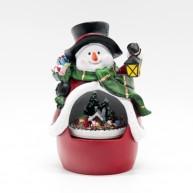 IMP-EX karácsonyi dekoráció zenélő hóember világító kisvasúttal a pocakjában
