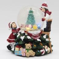 IMP-EX karácsonyi dekoráció zenélő és világító hógömb kislánnyal és kisfiúval