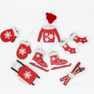 Karácsonyfadísz fából, piros-fehér , szőrmével díszített  453205 10db-os szett