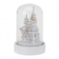IMP-EX karácsonyi dekoráció üvegbúrában - Templom hóemberrel LED világítással 5597-D