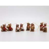 Karácsonyfadísz - mackók sapkában akasztóval 8db-os kerámiából 468051