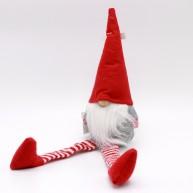 Karácsonyfadísz - karácsonyi manó lógó lábakkal szürke kabátban 484099
