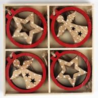 IMP-EX Karácsonyfadísz dobozban natúr-piros angyalka és csillag 8db-os szett