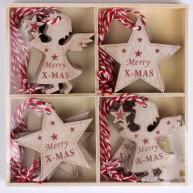 Fa karácsonyfadísz Merry X-MAS 12db-os angyalka és csillag 456922
