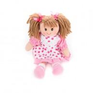 BUMI Textil rongybaba rózsaszín pöttyös ruhában 4312L