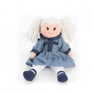 BUMI Textil rongybaba kék-fehér csíkos ruhában 4312K