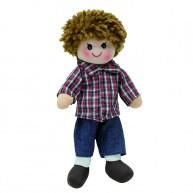 BUMI Textil rongybaba fiú kockás ingben és farmerben 4312J