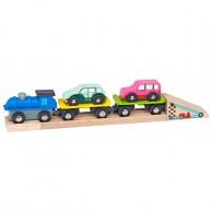 Mentari autószállító vonat vagonokkal és kocsikkal 4288