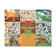 Melissa & Doug újrahasználható matrica füzet dzsungel és szavanna állatai 5 jelenetes 30502