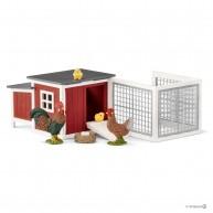 Schleich baromfiól kakassal, tyúkkal, csibékkel és tojásokkal 42421