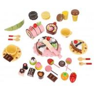 Szeletelhető fa édességek tépőzárral, fagylalt, csoki, süti, torta, nyalóka, bon-bon készlet fa ládikában 9355