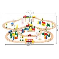 Fa vonatkészlet 100db-os kiegésztőkkel - város, közlekedési táblák, híd 6862
