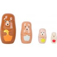 Legler egymásba rakható fa mackó család - matrjoska medvék  10621