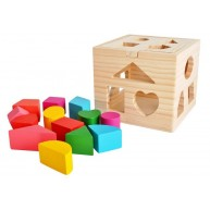 Fa formabedobó készségfejlesztő játék  kocka M-9366