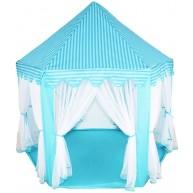 Világoskék játszósátor rögzíthető szúnyoghálós függönyökkel