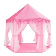 Rózsaszín játszósátor rögzíthető szúnyoghálós függönyökkel