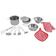 Lábas, főzőedény, szűrő és eszközök játékkonyhába 12 részes 9438