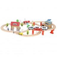 Fa vonatkészlet elektromos gyorsvonattal, kiegészítő épületekkel, emberekkel, 390 cm hosszú sínpályával 9362