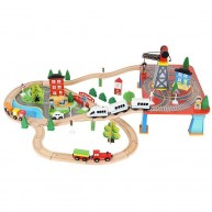Fa vonat szett kiegészítőkkel, 3,3 m hosszú sín pályával épületekkel, daruval, 1db elektromos gyorsvonattal 9363