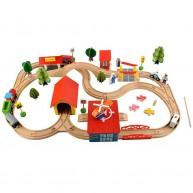 Fa vonatkészlet 69db-os vonattal, közlekedési táblákkal, mágneses horgászjátékkal és kiegészítőkkel 6158