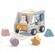 PolarB húzogatós autó formabedobós játék egyben jegesmedvével 6063